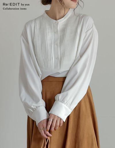 [神山まりあさん着用][yun×Re:EDIT(リエディ)コラボ][低身長サイズ有]ピンタックブザムシャツブラウス