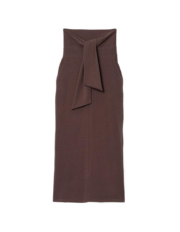 [低身長向け/高身長向けサイズ対応]マシュマロカットウエストリボンタイトスカート