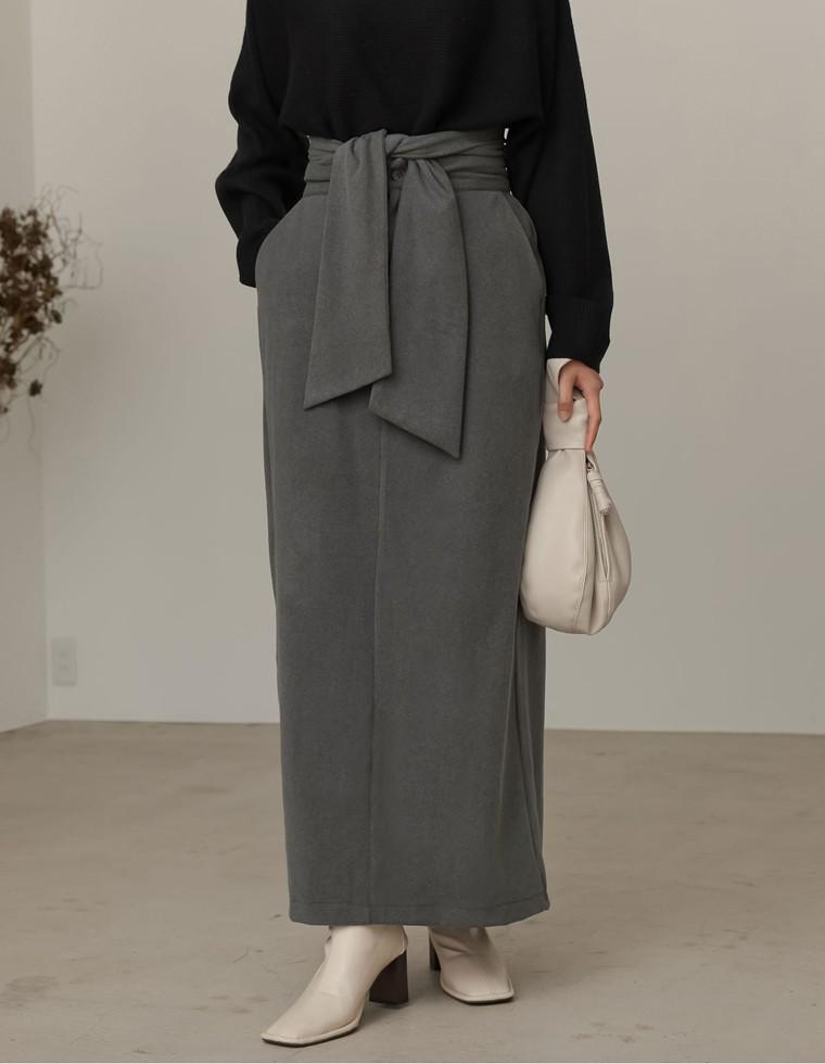 Re:EDIT‐リエディ [低身長向け/高身長向けサイズ対応]マシュマロカットウエストリボンタイトスカート
