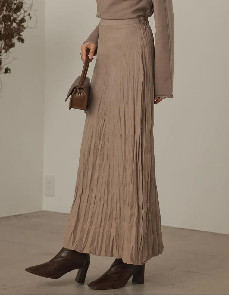 Re:EDIT‐リエディ [低身長向け/高身長向けサイズ対応]ライトピーチ起毛ワッシャープリーツスカート