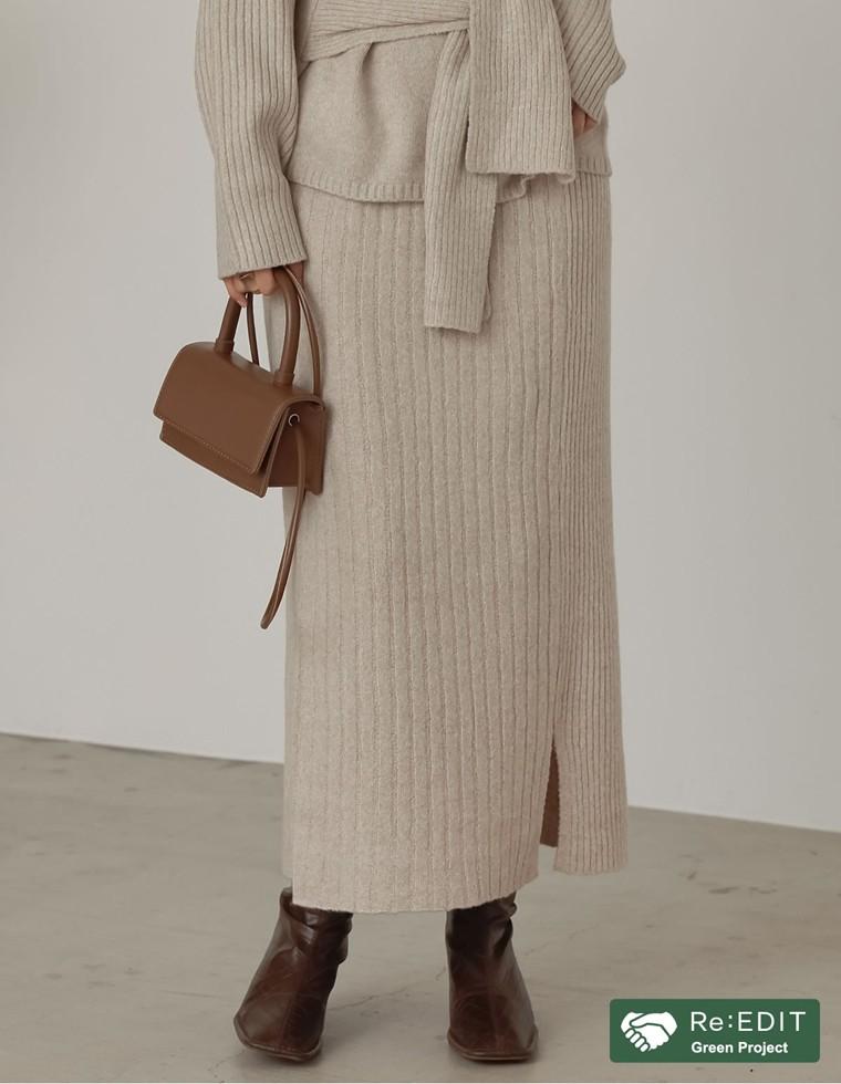 Re:EDIT‐リエディ [サステナブル][低身長向けSサイズ対応]リサイクルニットアシメリブタイトスカート
