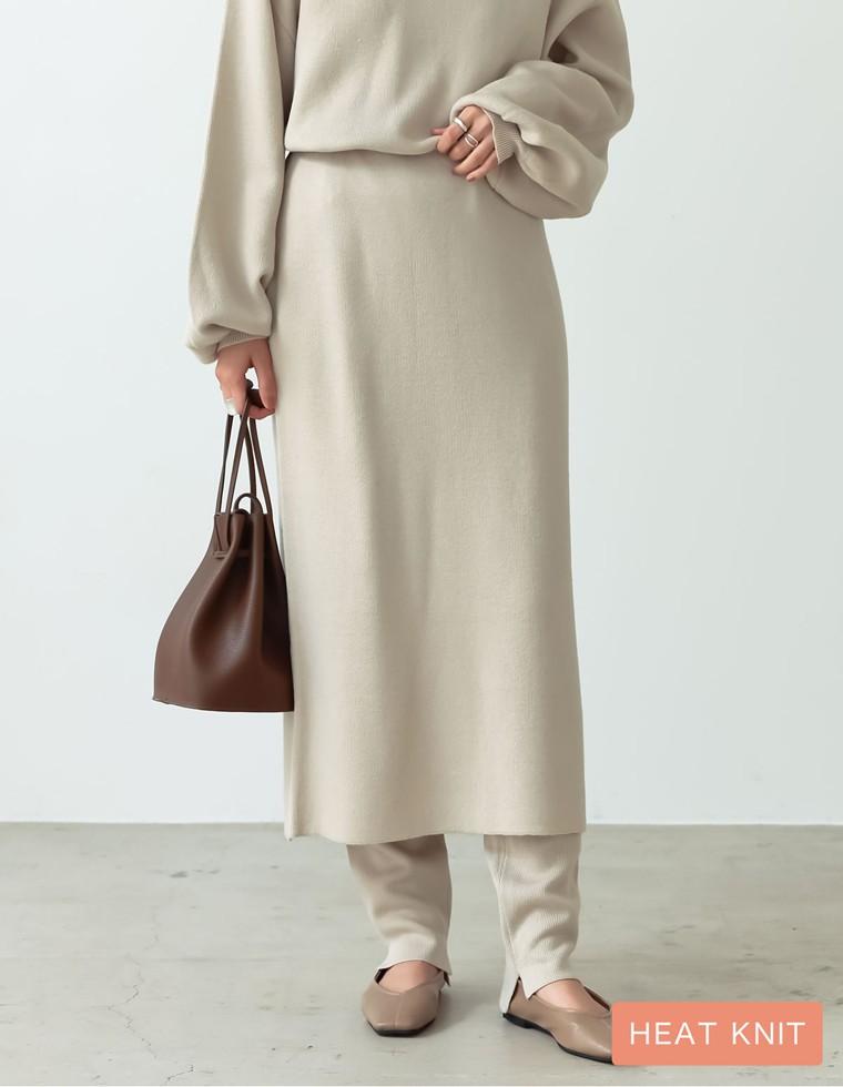 Re:EDIT‐リエディ [あったか蓄熱保温][低身長向け/高身長向けサイズ有]ヒートニットアウトリンキングタイトスカート