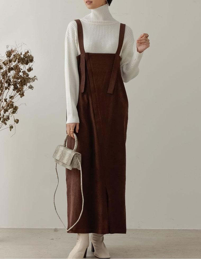 Re:EDIT‐リエディ [低身長向け/高身長向けサイズ対応]起毛ツイルアシメジップジャンパースカート