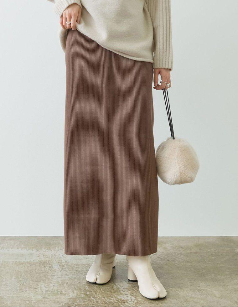 [低身長向けSサイズ有]コーデュロイ風プリーツIラインスカート
