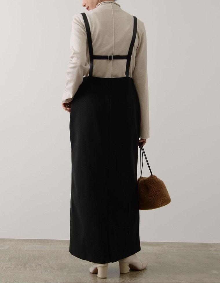 Re:EDIT‐リエディ [低身長向けSサイズ対応]起毛ジャージーサスペンダー付きジャンパースカート