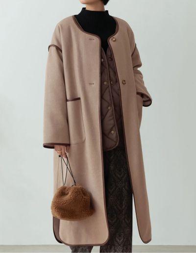 [低身長サイズ有][2点セット]パイピングフェイクウールコート&中綿キルティングリバーシブルライナージャケット