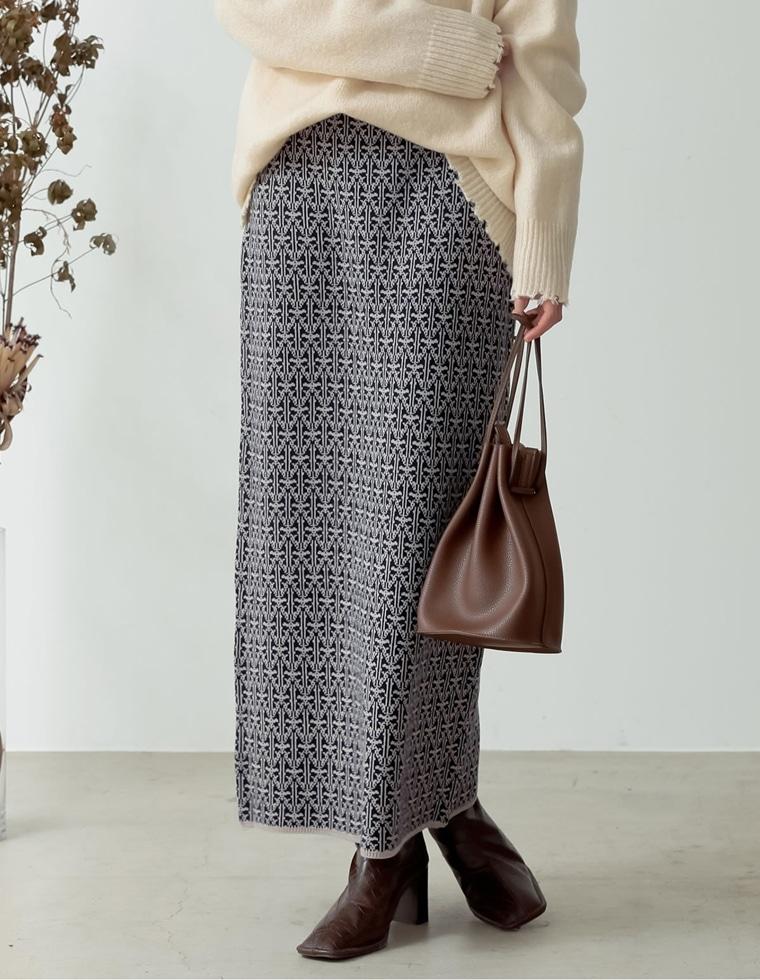 Re:EDIT‐リエディ [低身長向けSサイズ有]総柄ジャガードニットタイトスカート