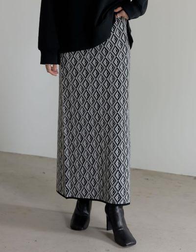 [低身長向けSサイズ有]総柄ジャガードニットタイトスカート