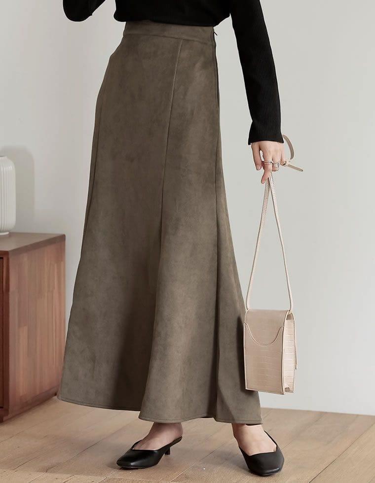 [低身長向け/高身長向けサイズ有]ポンチスウェードストレッチナロースカート