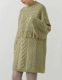 [お家で洗える]ケーブル編みフリンジニットチュニック