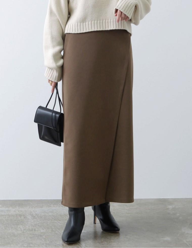 Re:EDIT‐リエディ [低身長向け/高身長向けサイズ有]起毛ジャージーラップ風ストレッチタイトスカート