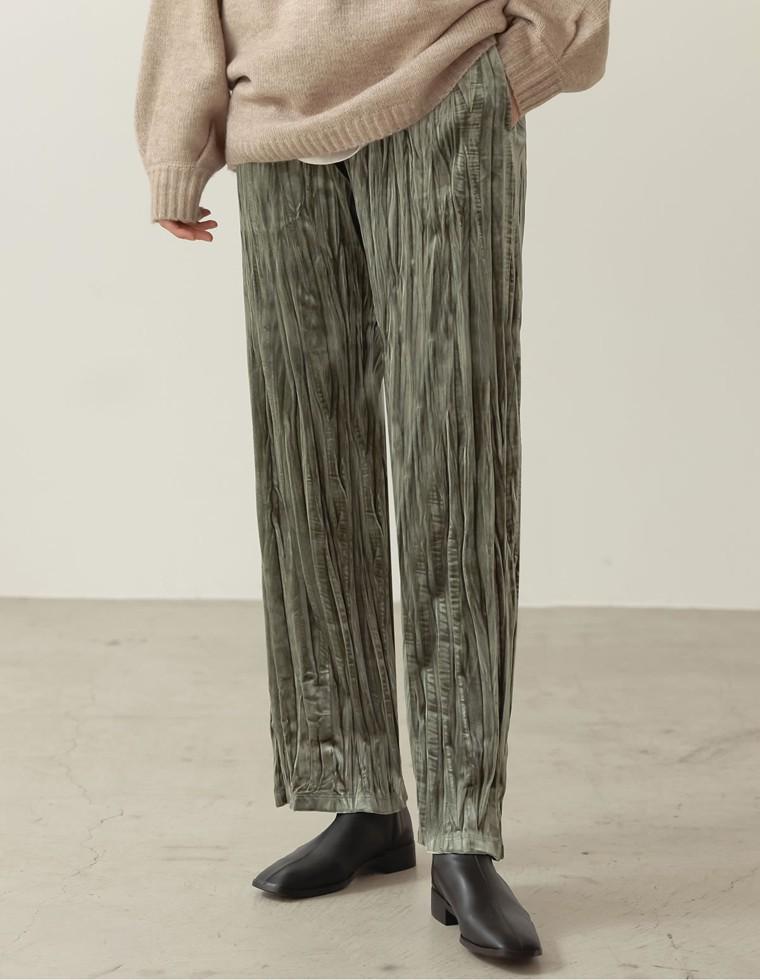 Re:EDIT‐リエディ [低身長向け/高身長向けサイズ有]ワッシャー加工ベロアリラックスパンツ