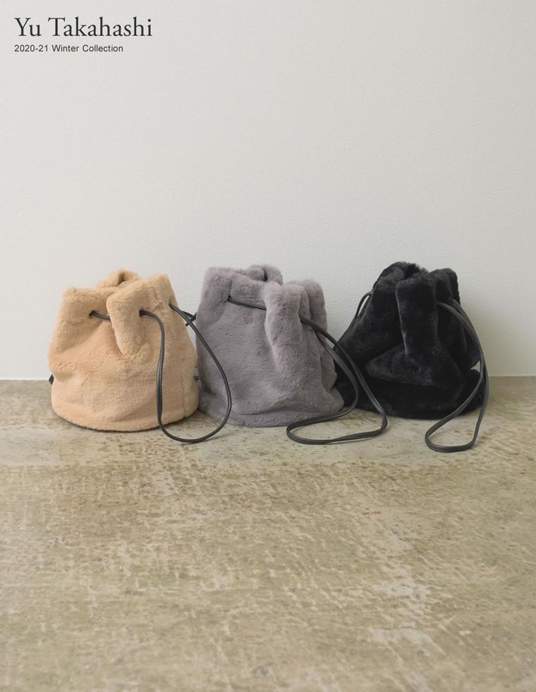 Re:EDIT‐リエディ [高橋ユウさん着用]エコファー巾着ショルダーバッグ
