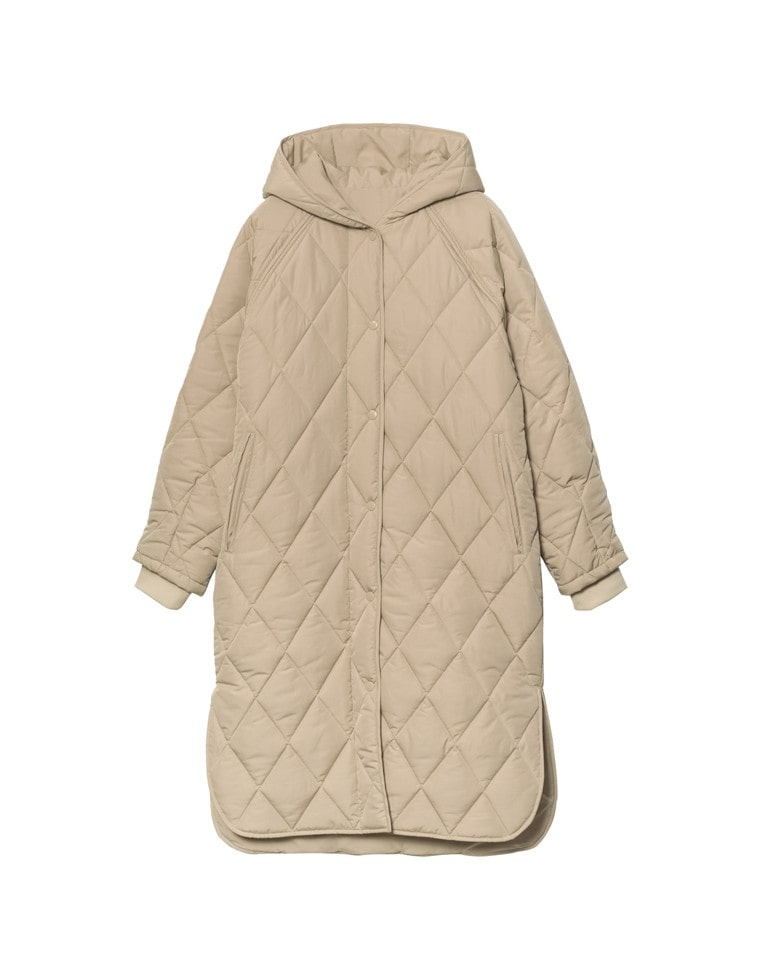 [高橋ユウさん着用][サステナブル][低身長向けサイズ有]リサイクル中綿オーバーサイズキルティングコート