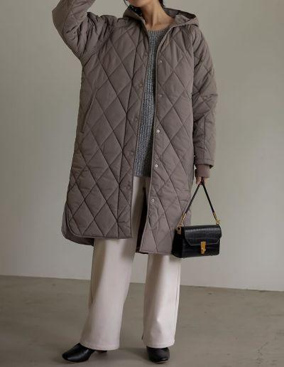 [低身長向けサイズ有]リサイクル中綿オーバーサイズキルティングコート