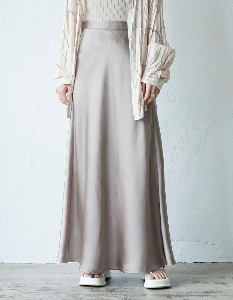 Re:EDIT‐リエディ [2021S/S PRE ORDER][低身長向け/高身長向けサイズ有]サテンロングナロースカート