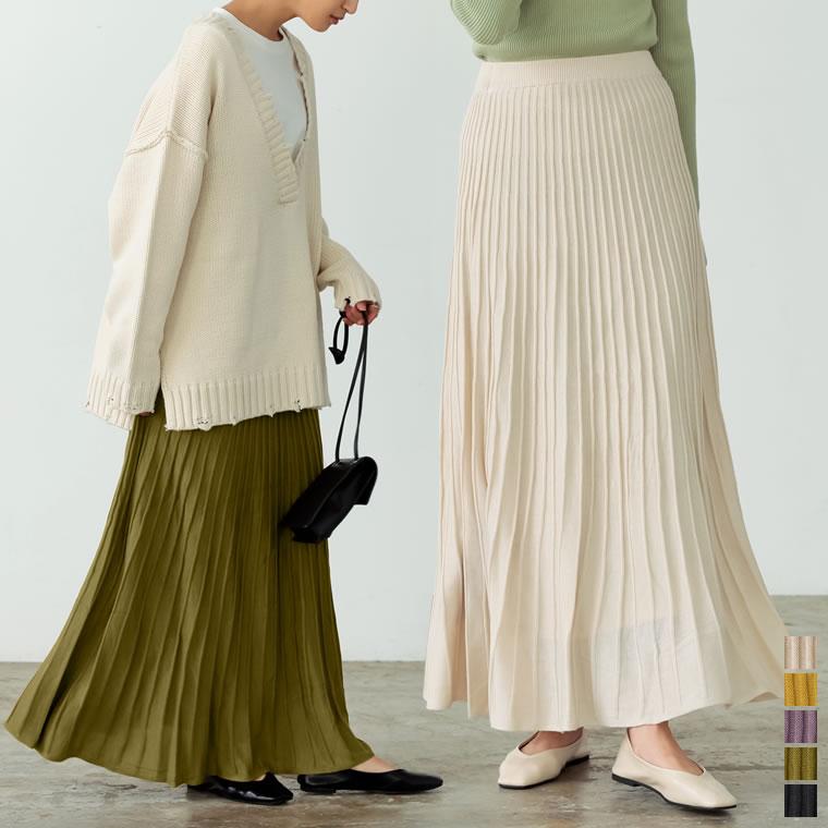 133863_[低身長サイズ有]プリーツライクニットスカート