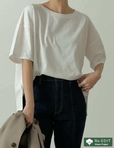 オーガニックコットンオーバーサイズベーシックTシャツ