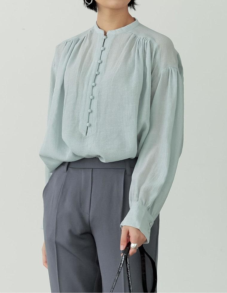 Re:EDIT‐リエディ シフォン楊柳バンドカラーピンタックブラウス