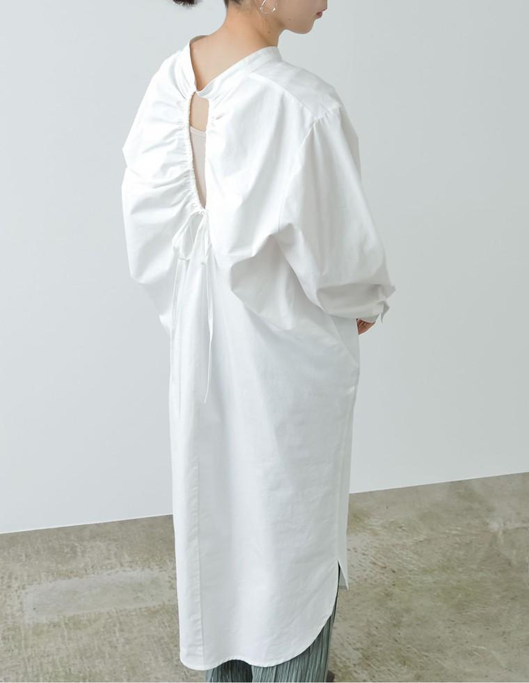 Re:EDIT‐リエディ [低身長サイズ有]バックシャーリングシャツワンピース