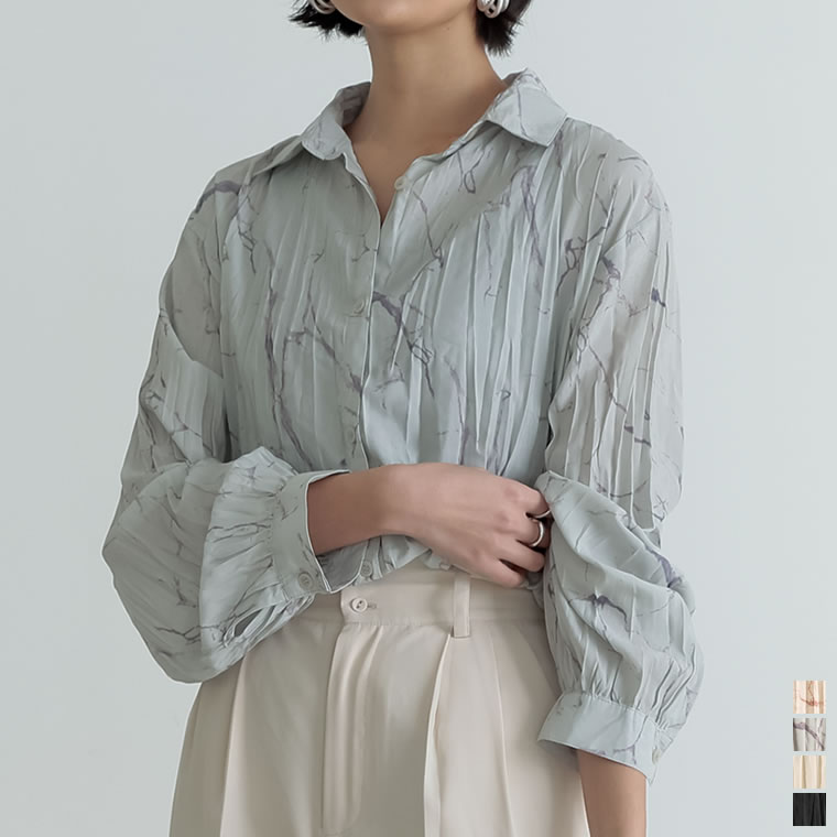 134016_[2021S/S COLLECTION]マーブル柄or無地ワッシャーシャツ