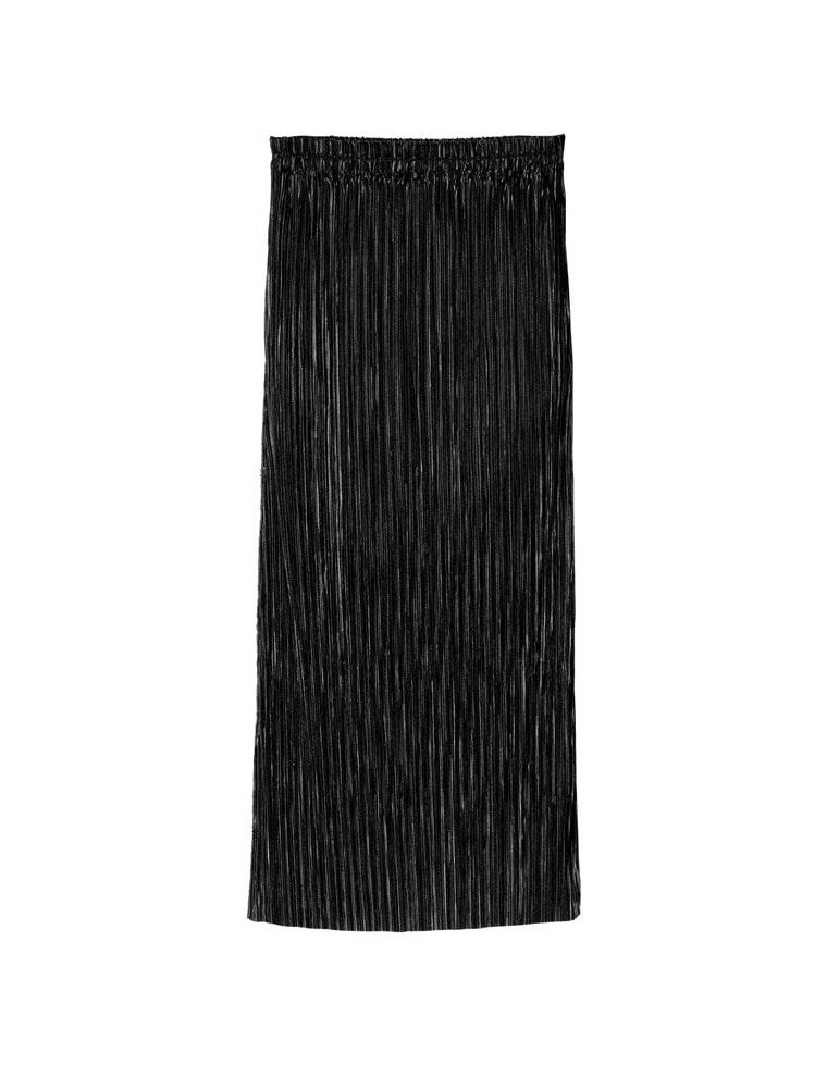 [低身長サイズ有]グロッシーサテンプリーツIラインスカート