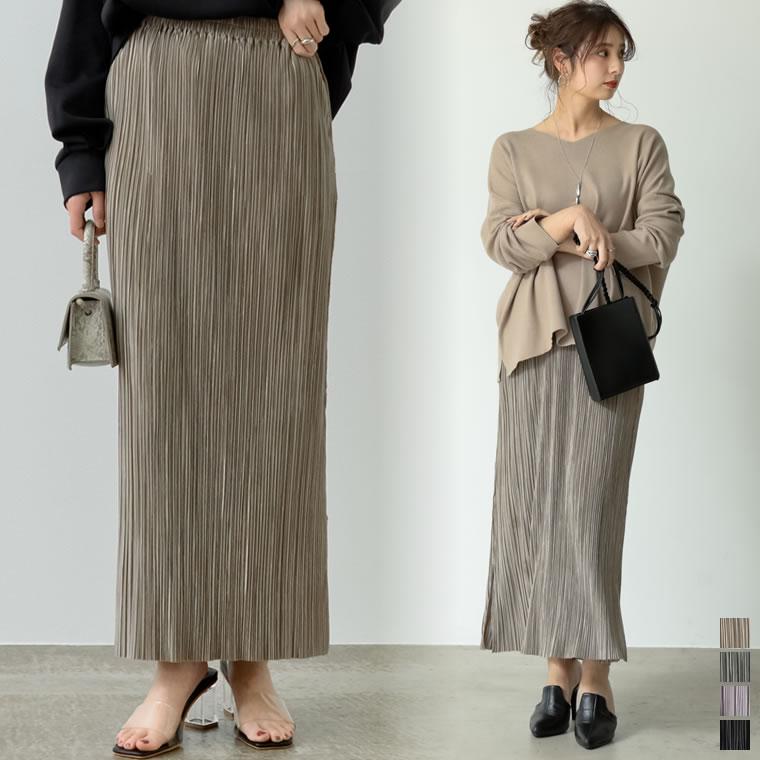 134022_[低身長サイズ有]グロッシーサテンプリーツIラインスカート