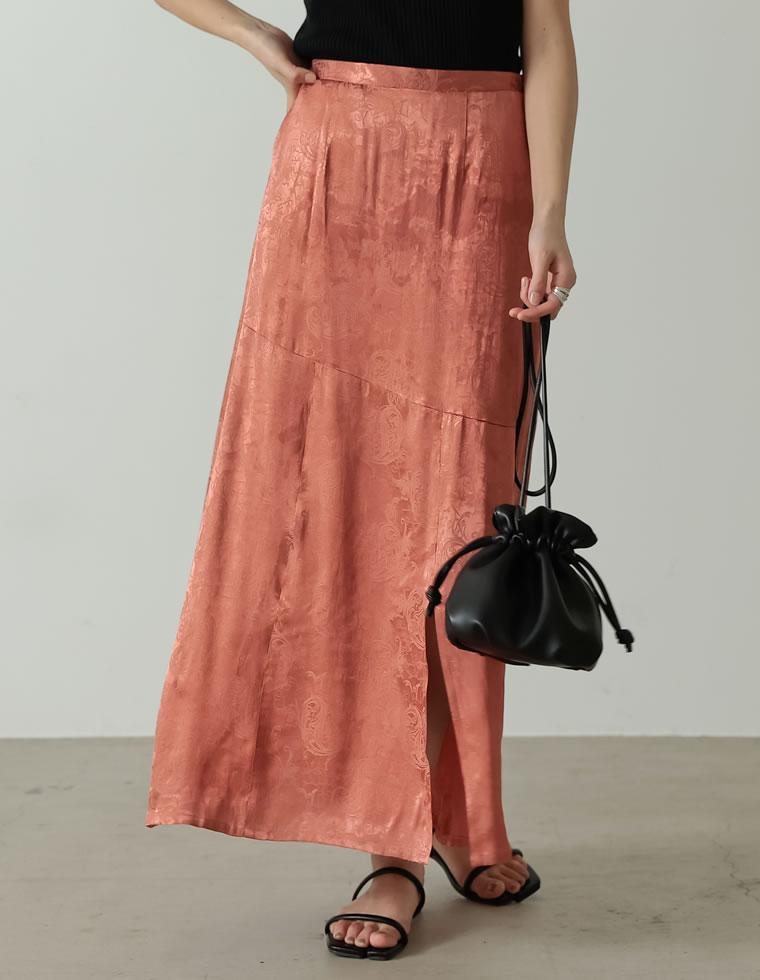 Re:EDIT‐リエディ [低身長サイズ有り]サテンジャガードナロースリットスカート