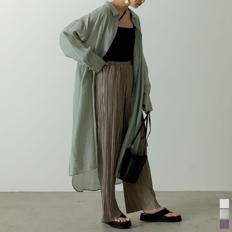 134209_[飯豊まりえさん着用][低身長サイズ有]サイドスリット楊柳シアーシャツワンピース