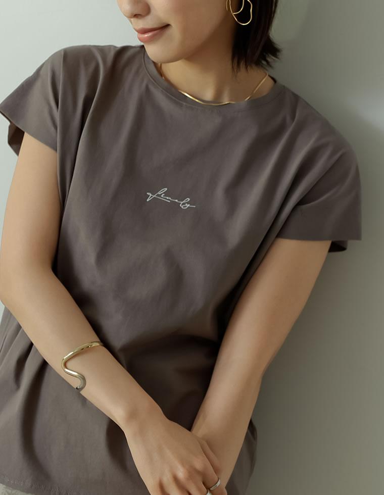 134265_シルケットコットンロゴプリントフレンチTシャツ