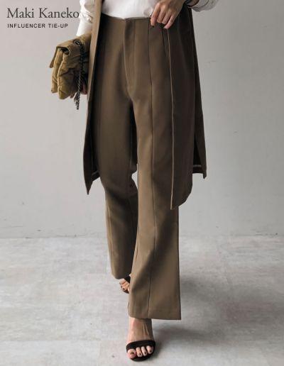 [金子麻貴さん着用][低身長/高身長サイズ有]ストレッチツイルバックスリットダーツパンツ