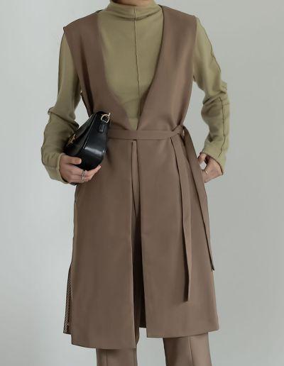 [低身長サイズ有]ストレッチツイルノースリーブジャケット