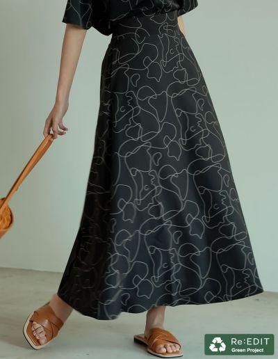[低身長/高身長サイズ有]リサイクルカットツイルセミフレアスカート