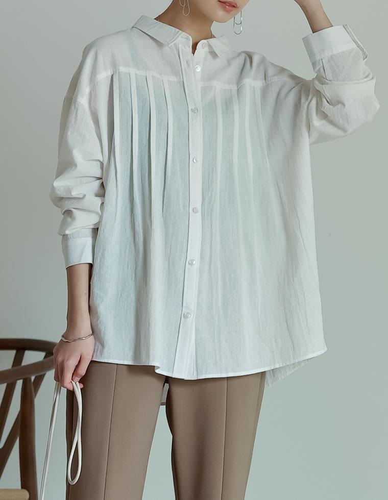 Re:EDIT‐リエディ タックプリーツデザインシャツ