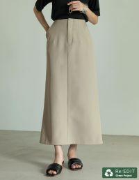 [低身長サイズ有]リサイクルカットツイルウエストダーツIラインスカート