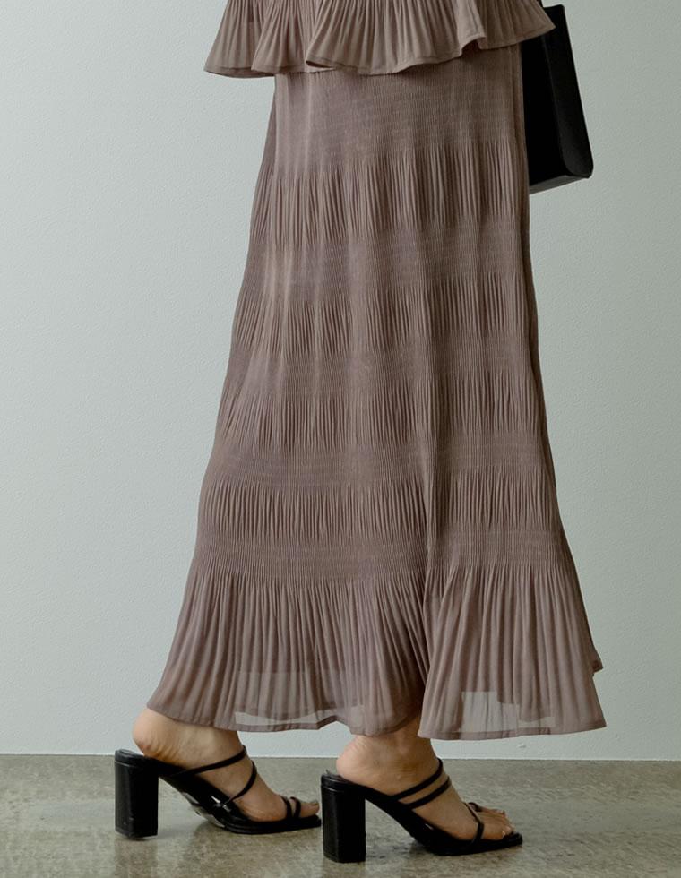 Re:EDIT‐リエディ [低身長サイズ有]マジョリカプリーツセミフレアスカート
