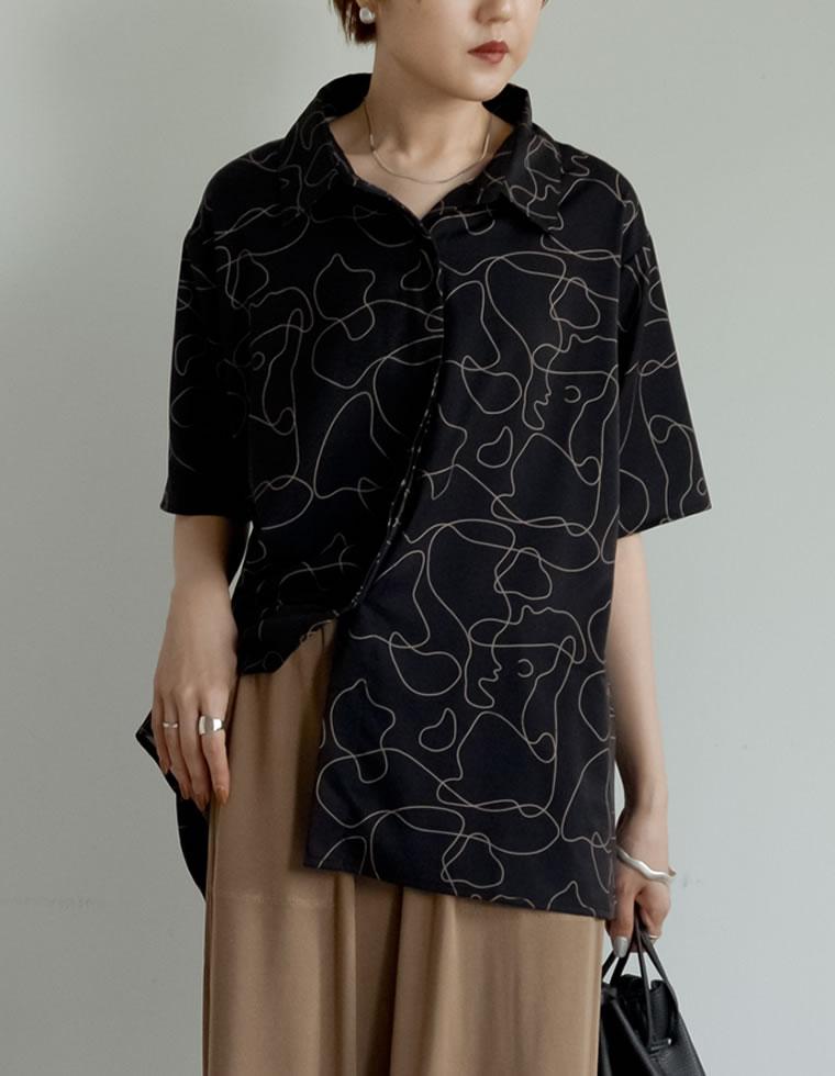 134608_とろみ線画オーバーサイズ半袖シャツ