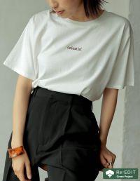 オーガニックコットン刺繍ロゴTシャツ