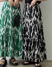 [低身長サイズ有]ムーン柄ティアードスカート