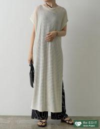 [低身長サイズ有]リネンタッチ透かし編みロングニットワンピース
