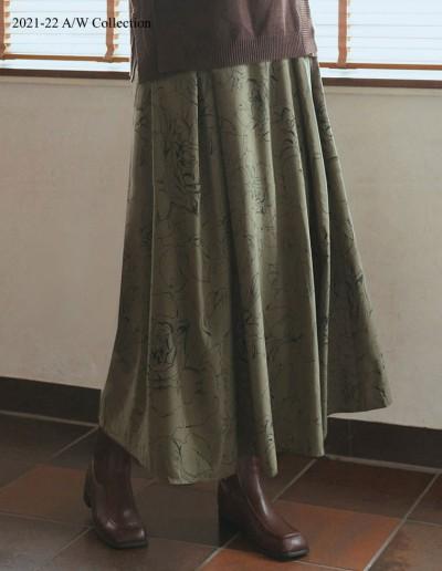 [低身長/高身長サイズ有]線花柄ボックスタックフレアスカート