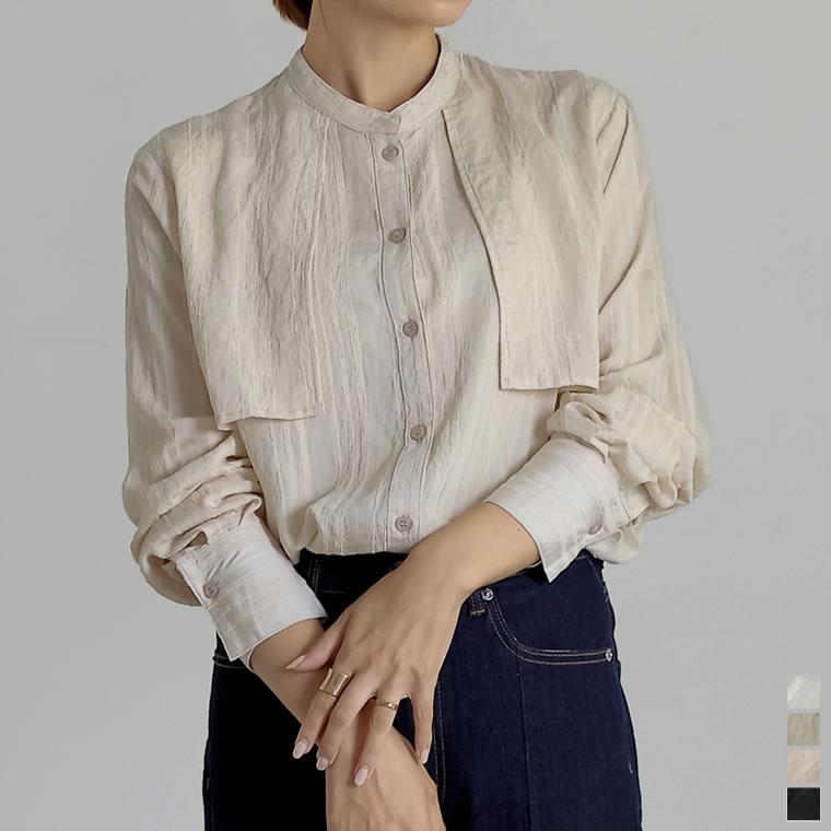 134750_[神山まりあさん着用]バンドカラーシアーストライプシャツ