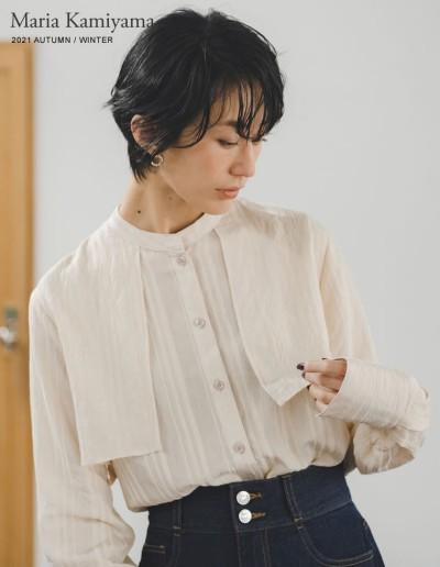 [神山まりあさん着用]バンドカラーシアーストライプシャツ