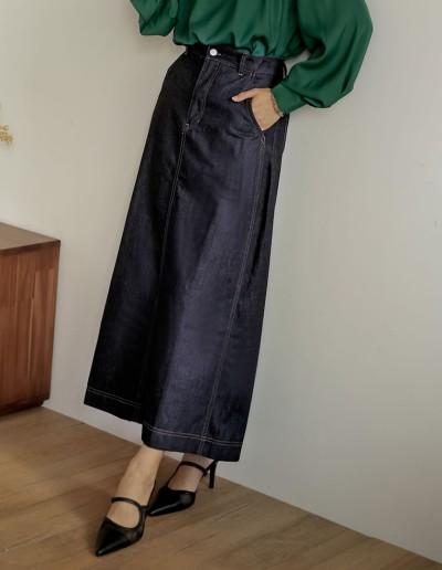 [低身長/高身長サイズ有]マキシデニムスカート