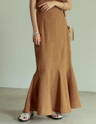 [低身長/高身長サイズ有]リネンタッチマキシマーメイドスカート