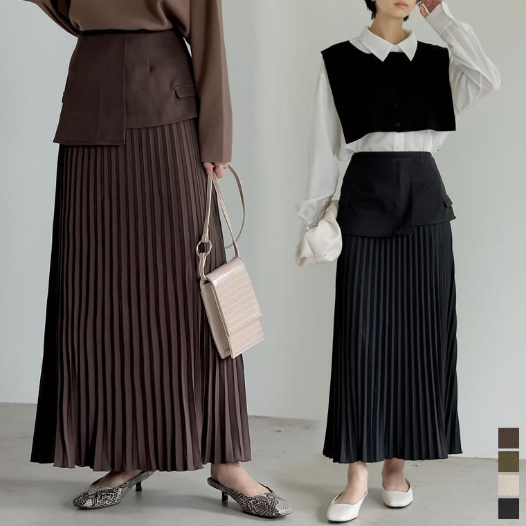 134779_[低身長/高身長サイズ有][2点セット]2WAYビスチェベルト付きプリーツスカート