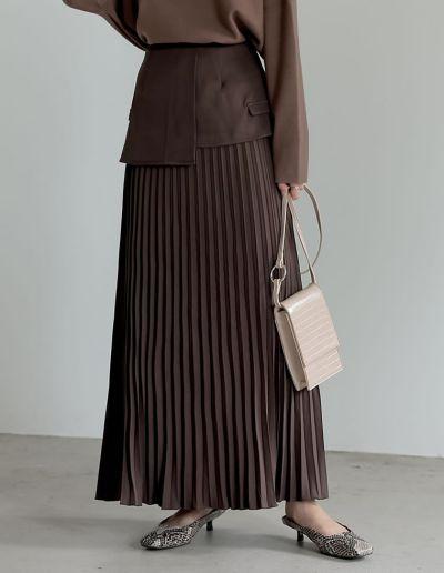 [低身長/高身長サイズ有][2点セット]2WAYビスチェベルト付きプリーツスカート