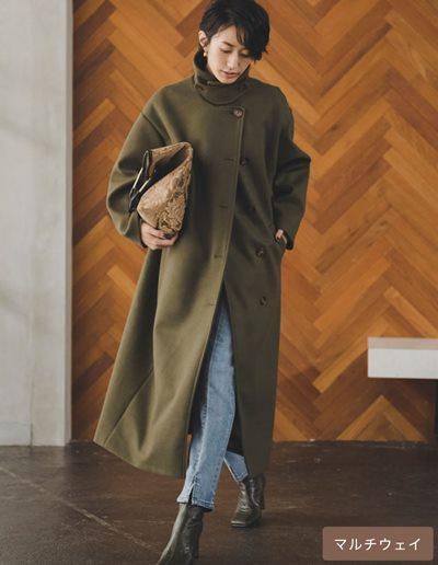 [神山まりあさん着用][低身長サイズ有]3WAYフェイクウールロングステンカラーコート