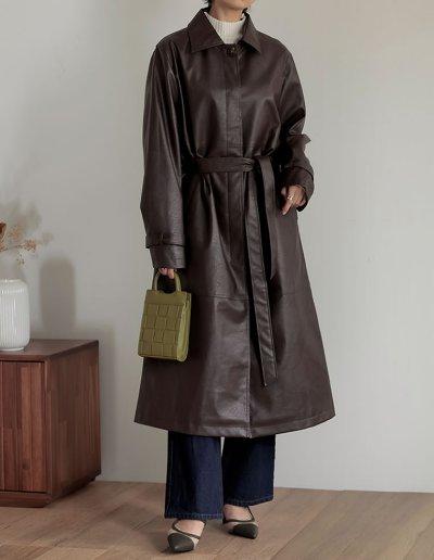 [低身長サイズ有]フェイクレザーステンカラーコート