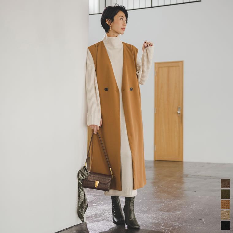 134807_[神山まりあさん着用][低身長向けサイズ有]カットツイルノースリーブワンピースジャケット